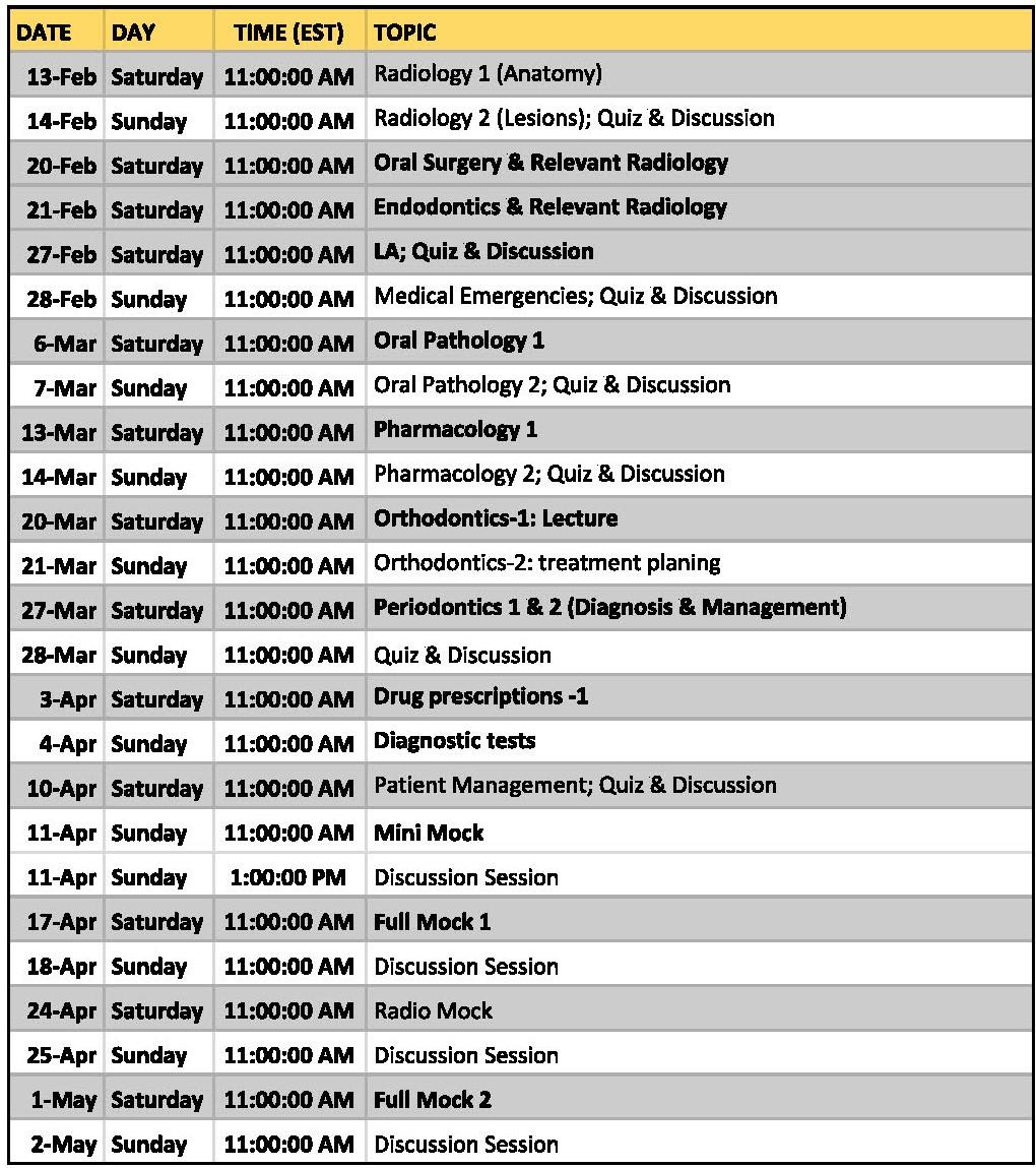 ACJ schedule
